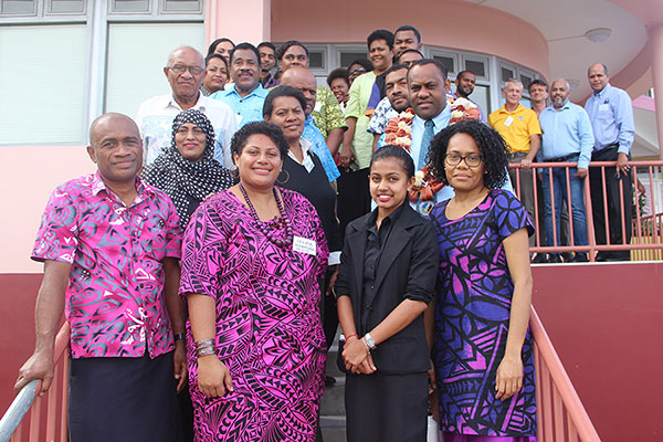 National Disaster Management Office Director,Anare Leweniqila (in garland) with participants of the CSO Review Meeting in Suva yesterday